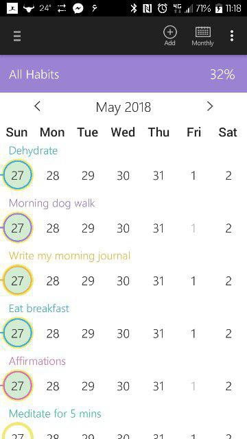 A screenshot of my habit trackingapp - Habit Bull